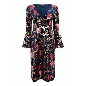 Topshop Foil Floral Plunge Wrap Dress Navy/Gold